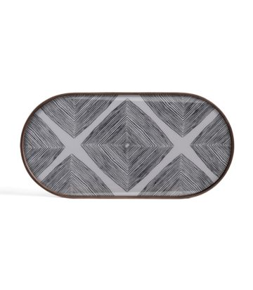 Ethnicraft Slate Linear Squares oblong glass tray