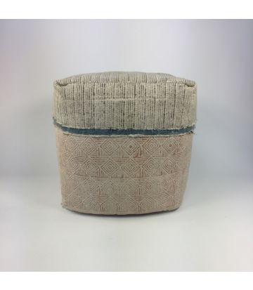 Asianmood Vierkante pouf met handblock print en blauw biesje