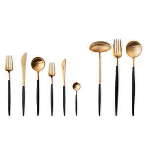 Cutipol Goa Matte Gold 75 delig bestek - Kleur Zwart
