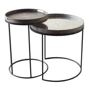 Notre Monde  Round Tray Table Set - High