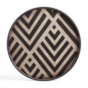 Ethnicraft Graphite Chevron wooden Tray S