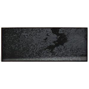 Notre Monde rectangle mini glass tray - black metal rim - charcoal heavy aged
