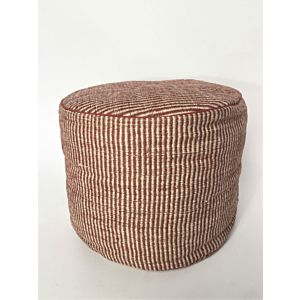 Asianmood Ronde jute Pouf rode streep