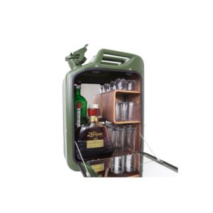Danish Fuel Barcabinet + set Glazen - Kleur Barcabinet Army Green - Houtsoort legplanken Walnoot