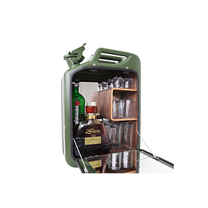 Danish Fuel Barcabinet-Army Green-Walnoot