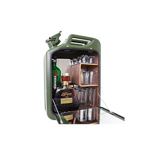 Danish Fuel Barcabinet-Army Green-Walnoot