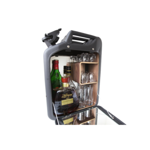 Danish Fuel Barcabinet + set Glazen - Kleur Barcabinet Nano Black - Houtsoort legplanken Walnoot