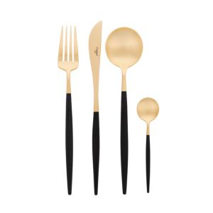Cutipol Goa Matte Gold 24 delig bestek - Kleur Zwart