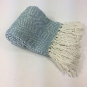 Asianmood Lichtblauwe plaid met visgraatmotief 1