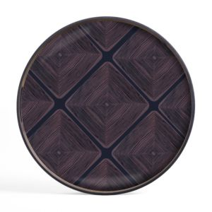 Ethnicraft Midnight Linear Squares glass tray S