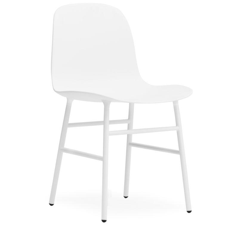 6 Witte Design Stoelen.Set 5 1 Normann Copenhagen Form Stoel Wit Poten Form Staal